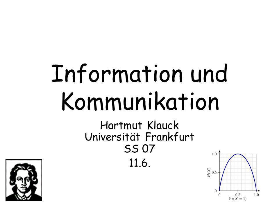 Information & Kommunikation 1612 Randomisierung Ein Beispiel: Wir betrachten wieder EQ(x,y) Ein Protokoll: –Alice zieht eine Primzahl p zwischen 1 und n 2 zufällig –Alice kommuniziert p und x mod p (x als Binärkodierung einer Zahl aufgefasst) –Bob akzeptiert, wenn x mod p=y mod p Kommunikationskosten: O(log n) Bits