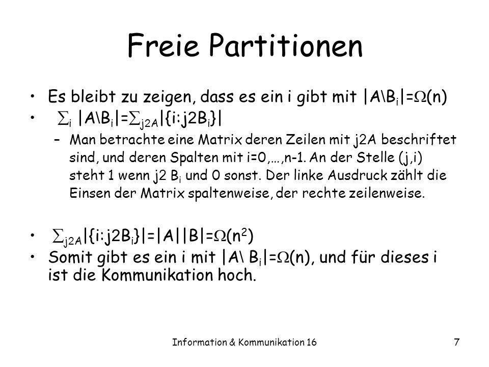 Information & Kommunikation 167 Freie Partitionen Es bleibt zu zeigen, dass es ein i gibt mit |A \ B i |= (n) i |A \ B i |= j 2 A |{i:j 2 B i }| –Man