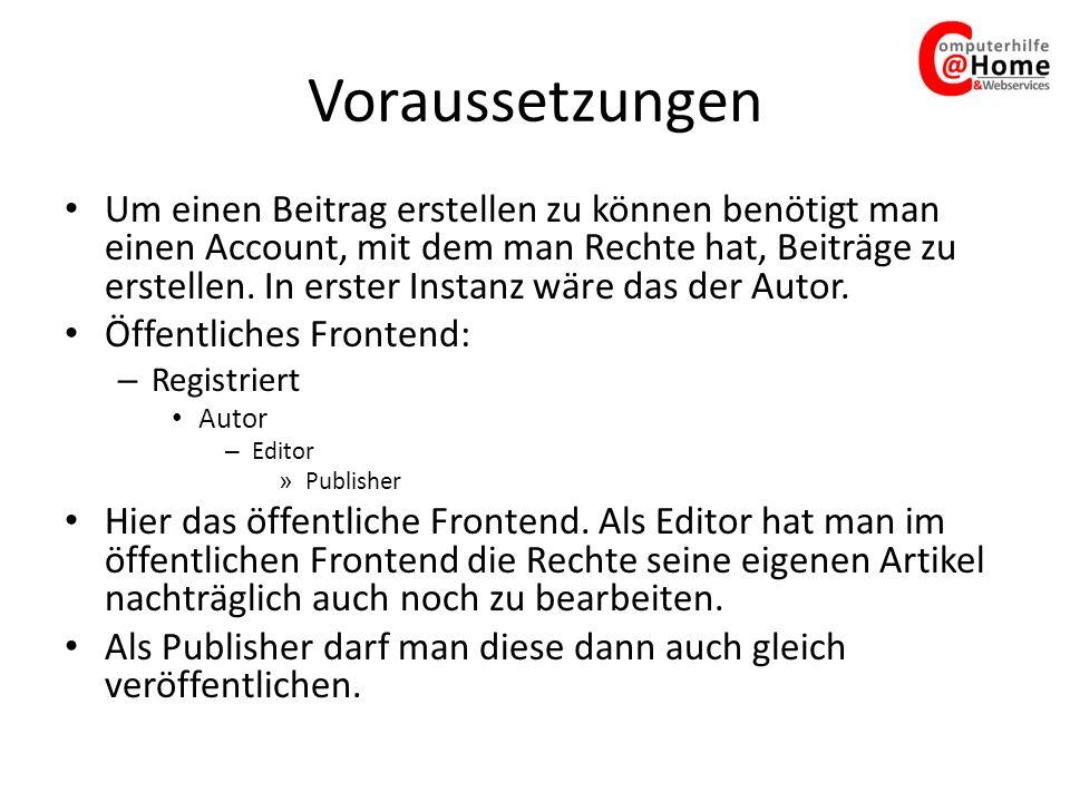 Erste Schritte Benutzer-Account vorhanden.
