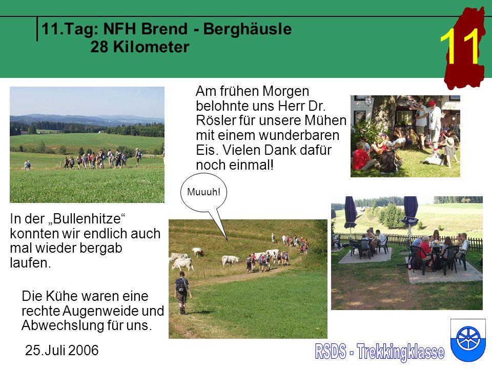 11.Tag: NFH Brend - Berghäusle 28 Kilometer 25.Juli 2006 11 In der Bullenhitze konnten wir endlich auch mal wieder bergab laufen. Muuuh! Die Kühe ware