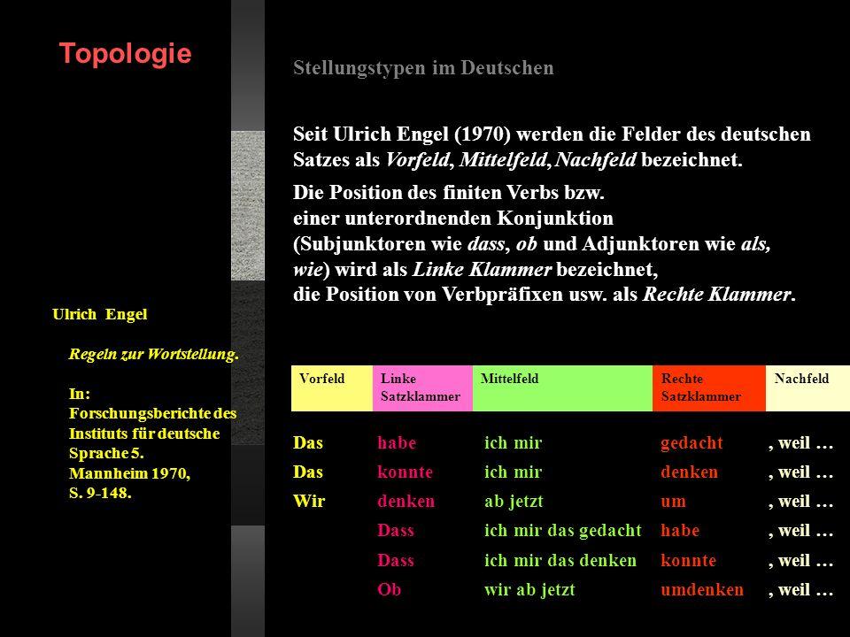 Stellungstypen im Deutschen Seit Ulrich Engel (1970) werden die Felder des deutschen Satzes als Vorfeld, Mittelfeld, Nachfeld bezeichnet. Die Position