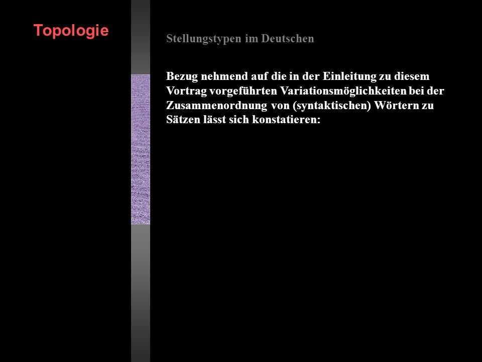 Stellungstypen im Deutschen Bezug nehmend auf die in der Einleitung zu diesem Vortrag vorgeführten Variationsmöglichkeiten bei der Zusammenordnung von