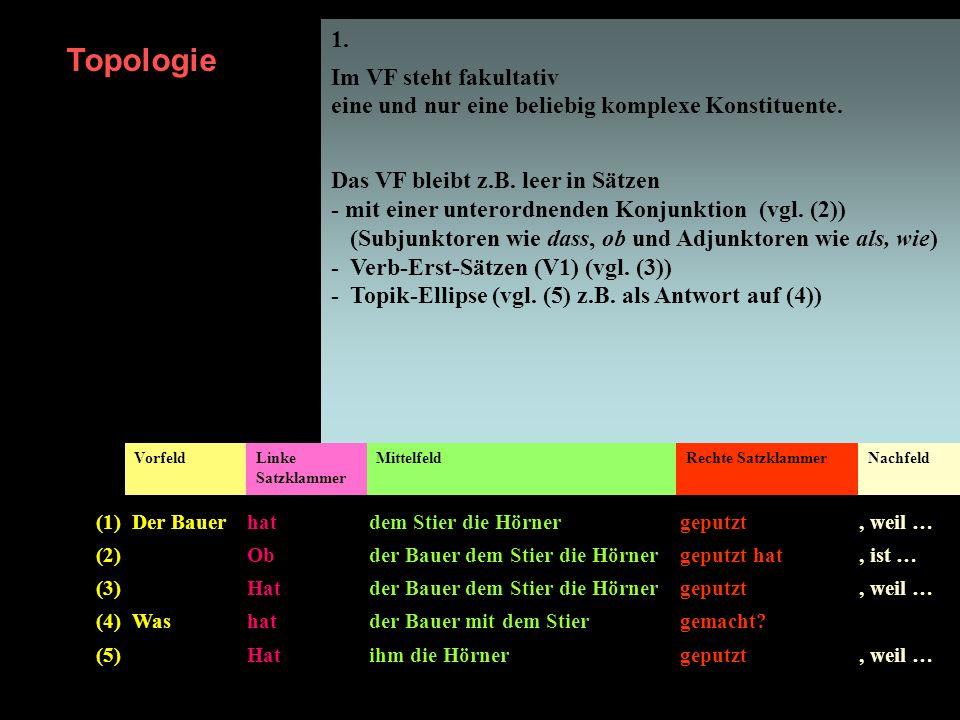 1. Im VF steht fakultativ eine und nur eine beliebig komplexe Konstituente. Das VF bleibt z.B. leer in Sätzen - mit einer unterordnenden Konjunktion (