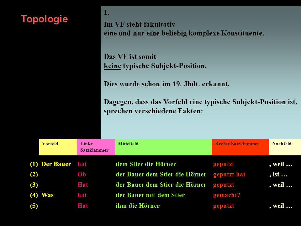 1. Im VF steht fakultativ eine und nur eine beliebig komplexe Konstituente. Das VF ist somit keine typische Subjekt-Position. Dies wurde schon im 19.