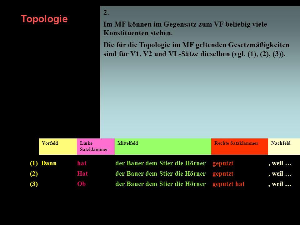 2. Im MF können im Gegensatz zum VF beliebig viele Konstituenten stehen. Die für die Topologie im MF geltenden Gesetzmäßigkeiten sind für V1, V2 und V