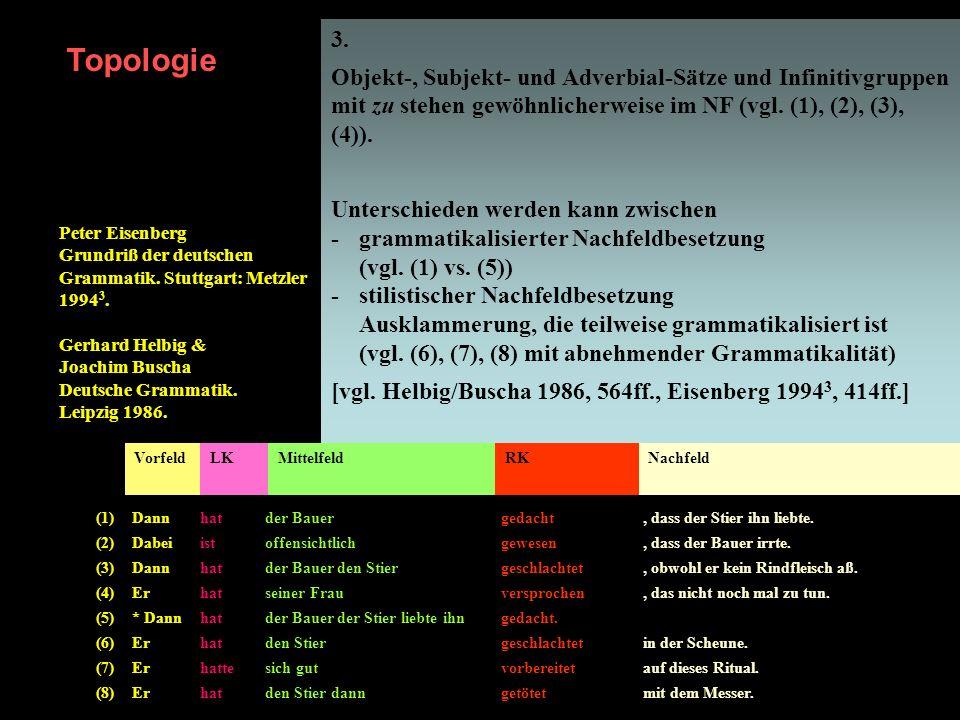3. Objekt-, Subjekt- und Adverbial-Sätze und Infinitivgruppen mit zu stehen gewöhnlicherweise im NF (vgl. (1), (2), (3), (4)). Unterschieden werden ka