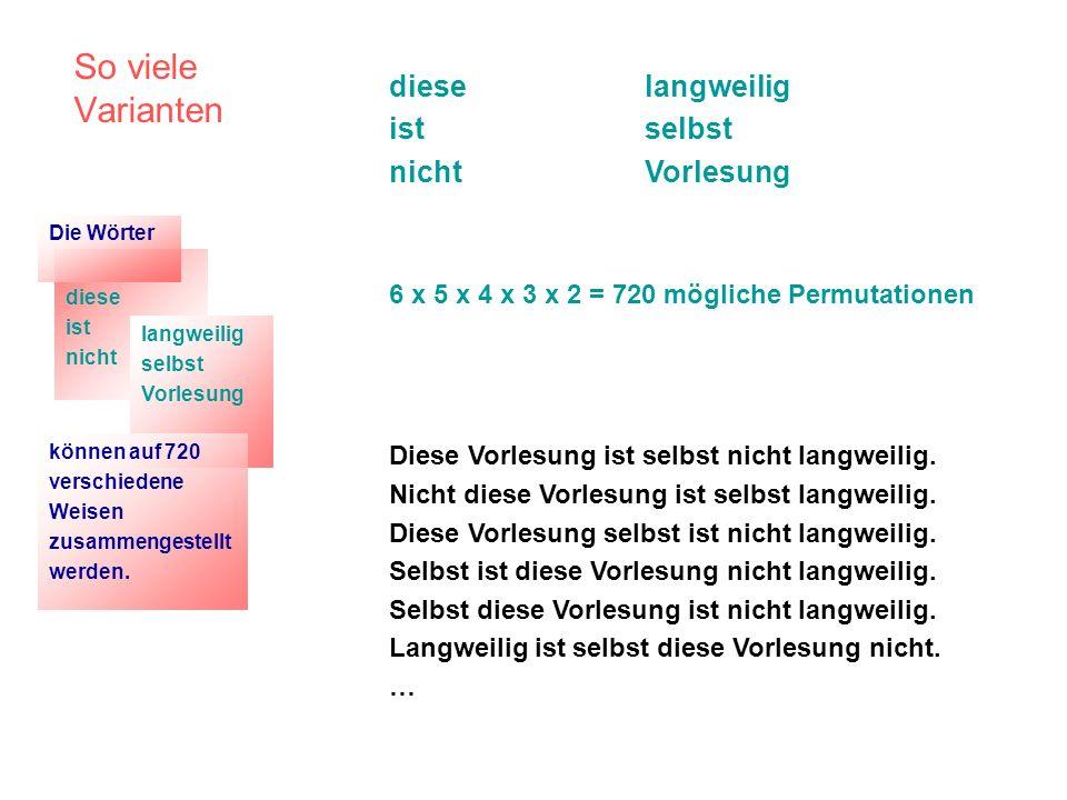 So viele Varianten diese ist nicht langweilig selbst Vorlesung 6 x 5 x 4 x 3 x 2 = 720 mögliche Permutationen Diese Vorlesung ist selbst nicht langwei