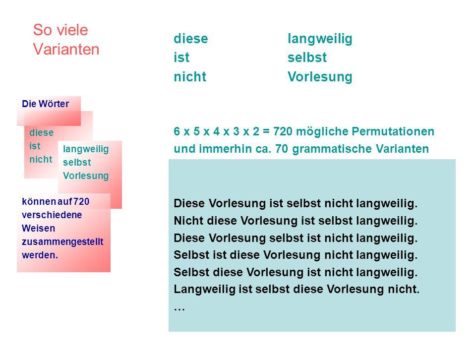 So viele Varianten diese ist nicht langweilig selbst Vorlesung 6 x 5 x 4 x 3 x 2 = 720 mögliche Permutationen und immerhin ca. 70 grammatische Variant