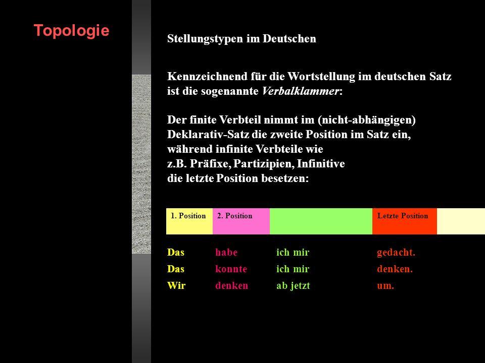 Stellungstypen im Deutschen Kennzeichnend für die Wortstellung im deutschen Satz ist die sogenannte Verbalklammer: Erich Drach (1937) entwickelte die Grundlagen der Feldterminologie am Kernsatz mit einfacher Verbform und übertrug diese auf andere Satztypen.