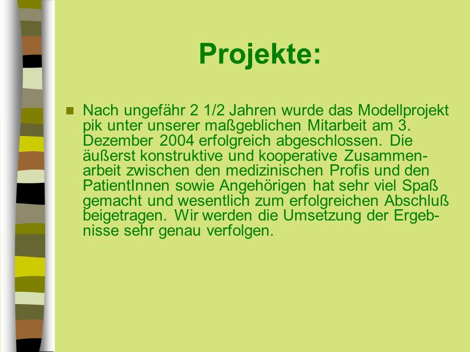 Projekte: Nach ungefähr 2 1/2 Jahren wurde das Modellprojekt pik unter unserer maßgeblichen Mitarbeit am 3.