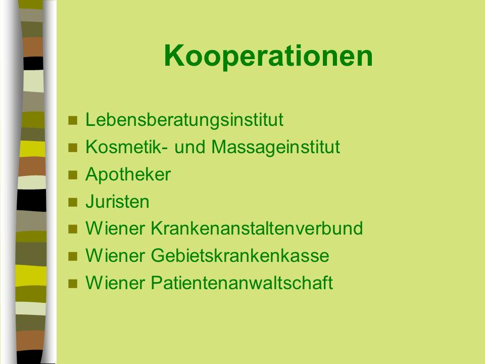 Kooperationen Lebensberatungsinstitut Kosmetik- und Massageinstitut Apotheker Juristen Wiener Krankenanstaltenverbund Wiener Gebietskrankenkasse Wiener Patientenanwaltschaft