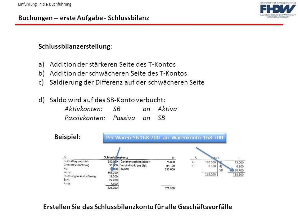 Einführung in die Buchführung Buchungen – erste Aufgabe - Schlussbilanz Schlussbilanzerstellung: a)Addition der stärkeren Seite des T-Kontos b)Additio