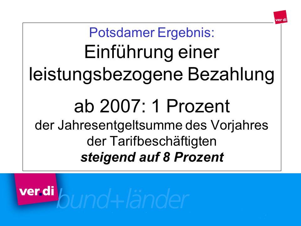 Potsdamer Ergebnis: Einführung einer leistungsbezogene Bezahlung ab 2007: 1 Prozent der Jahresentgeltsumme des Vorjahres der Tarifbeschäftigten steige