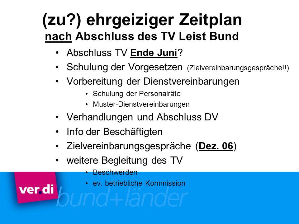 (zu?) ehrgeiziger Zeitplan nach Abschluss des TV Leist Bund Abschluss TV Ende Juni? Schulung der Vorgesetzen (Zielvereinbarungsgespräche!!) Vorbereitu