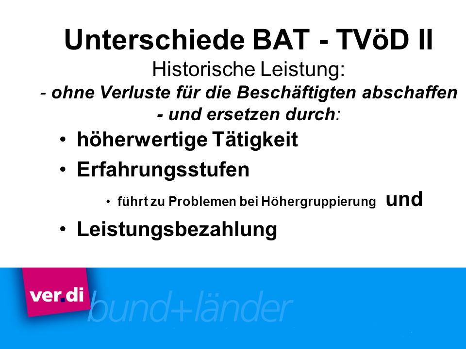 Unterschiede BAT - TVöD II Historische Leistung: - ohne Verluste für die Beschäftigten abschaffen - und ersetzen durch: höherwertige Tätigkeit Erfahru