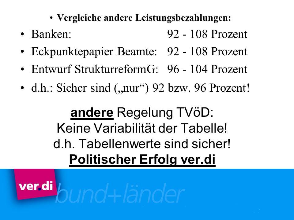 andere Regelung TVöD: Keine Variabilität der Tabelle! d.h. Tabellenwerte sind sicher! Politischer Erfolg ver.di Vergleiche andere Leistungsbezahlungen