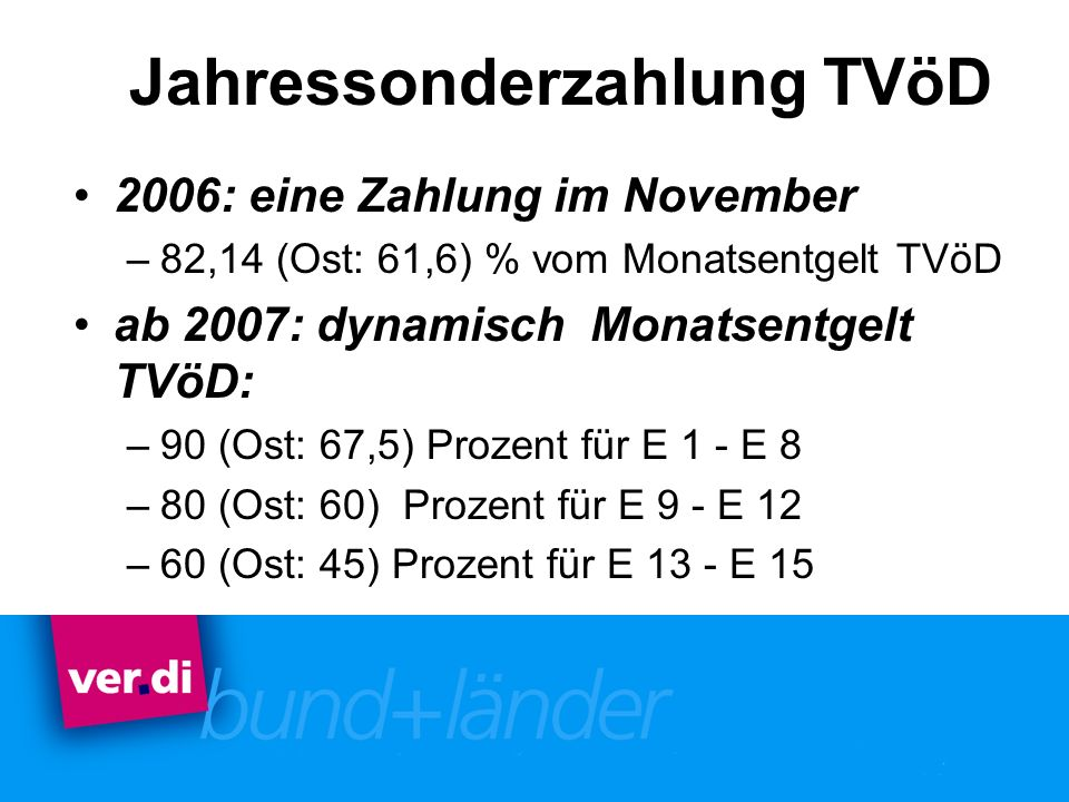 Jahressonderzahlung TVöD 2006: eine Zahlung im November –82,14 (Ost: 61,6) % vom Monatsentgelt TVöD ab 2007: dynamisch Monatsentgelt TVöD: –90 (Ost: 6