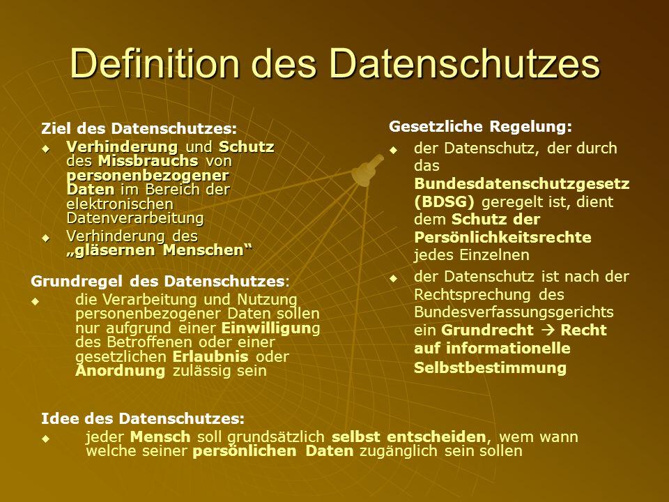 Definition des Datenschutzes Ziel des Datenschutzes: Verhinderung und Schutz des Missbrauchs von personenbezogener Daten im Bereich der elektronischen