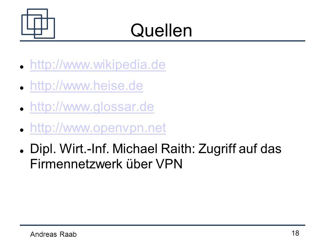 Andreas Raab 18 Quellen http://www.wikipedia.de http://www.heise.de http://www.glossar.de http://www.openvpn.net Dipl. Wirt.-Inf. Michael Raith: Zugri