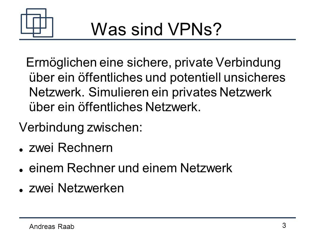 Andreas Raab 3 Was sind VPNs? Ermöglichen eine sichere, private Verbindung über ein öffentliches und potentiell unsicheres Netzwerk. Simulieren ein pr