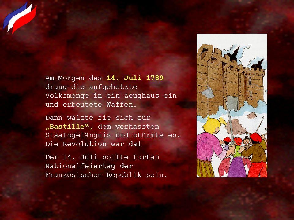 Am Morgen des 14. Juli 1789 drang die aufgehetzte Volksmenge in ein Zeughaus ein und erbeutete Waffen. Dann wälzte sie sich zur Bastille, dem verhasst