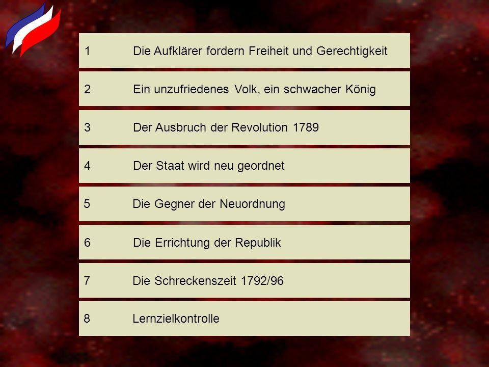 1Die Aufklärer fordern Freiheit und Gerechtigkeit 3Der Ausbruch der Revolution 1789 2Ein unzufriedenes Volk, ein schwacher König 4Der Staat wird neu g