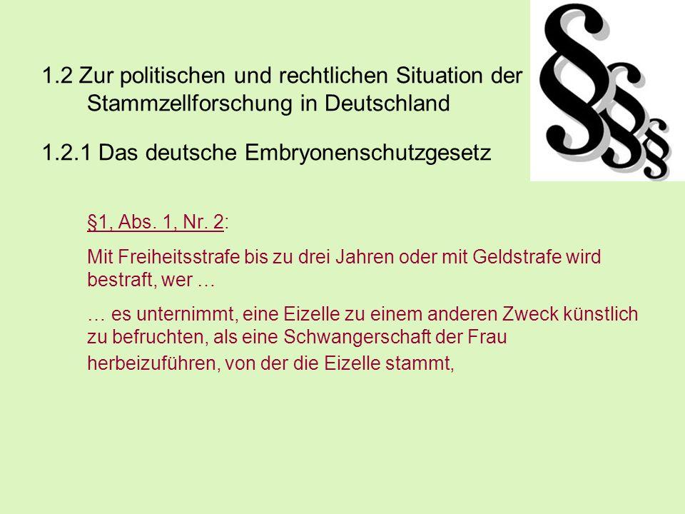 1.2 Zur politischen und rechtlichen Situation der Stammzellforschung in Deutschland 1.2.1 Das deutsche Embryonenschutzgesetz §1, Abs. 1, Nr. 2: Mit Fr
