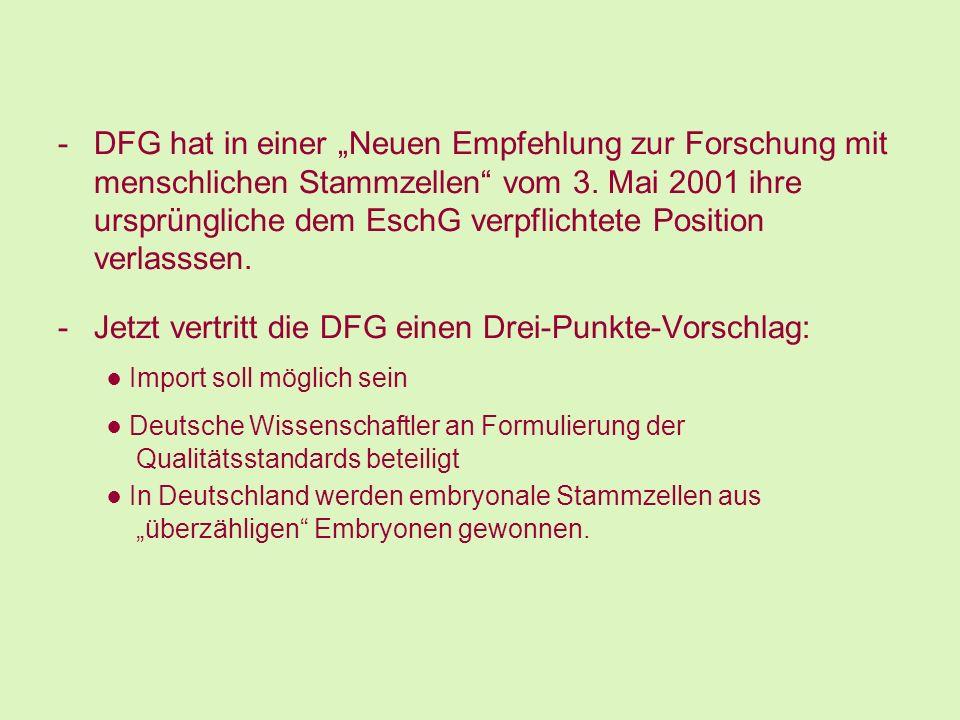 -DFG hat in einer Neuen Empfehlung zur Forschung mit menschlichen Stammzellen vom 3. Mai 2001 ihre ursprüngliche dem EschG verpflichtete Position verl