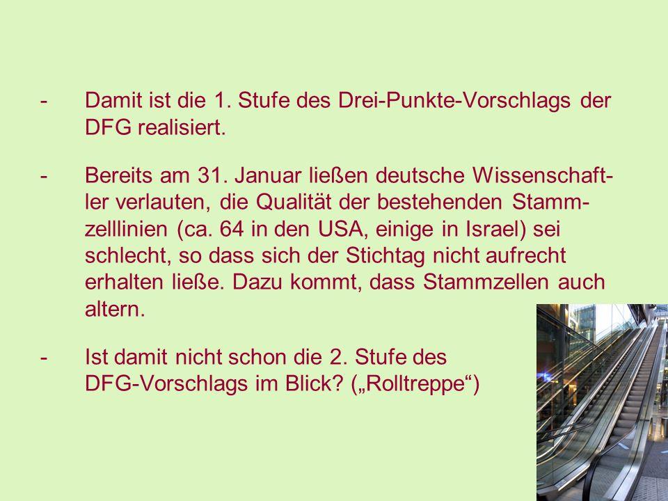 -Damit ist die 1. Stufe des Drei-Punkte-Vorschlags der DFG realisiert. -Bereits am 31. Januar ließen deutsche Wissenschaft- ler verlauten, die Qualitä