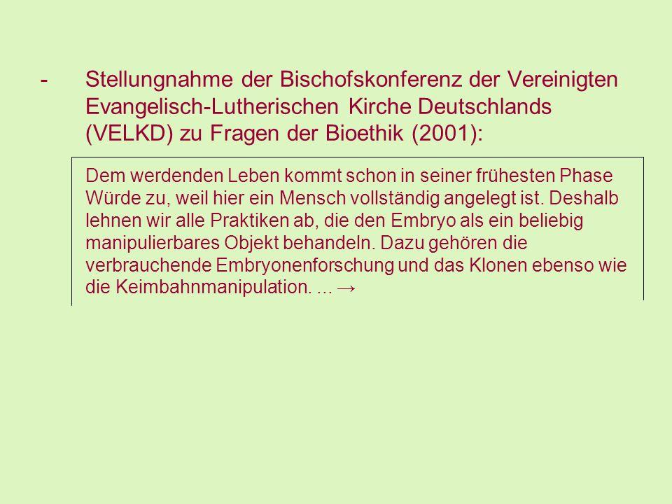 -Stellungnahme der Bischofskonferenz der Vereinigten Evangelisch-Lutherischen Kirche Deutschlands (VELKD) zu Fragen der Bioethik (2001): Dem werdenden
