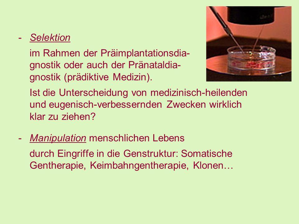 -Selektion im Rahmen der Präimplantationsdia- gnostik oder auch der Pränataldia- gnostik (prädiktive Medizin). Ist die Unterscheidung von medizinisch-