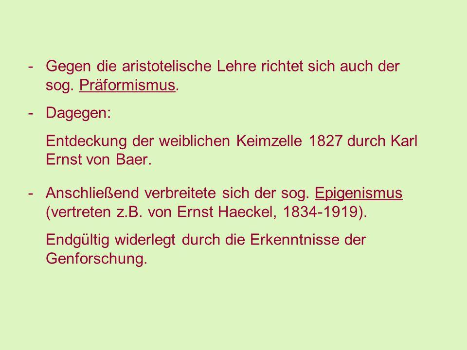 -Gegen die aristotelische Lehre richtet sich auch der sog. Präformismus. -Dagegen: Entdeckung der weiblichen Keimzelle 1827 durch Karl Ernst von Baer.