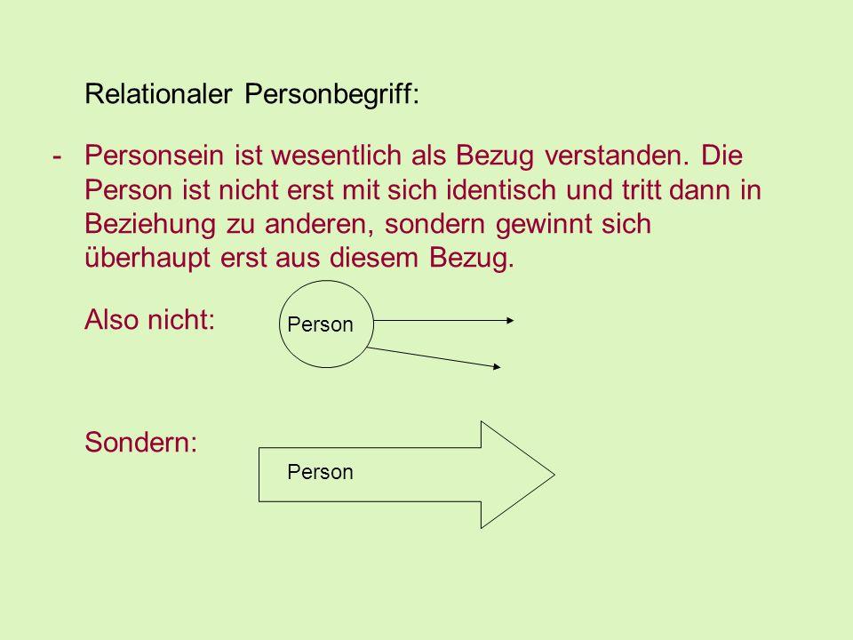 Relationaler Personbegriff: -Personsein ist wesentlich als Bezug verstanden. Die Person ist nicht erst mit sich identisch und tritt dann in Beziehung