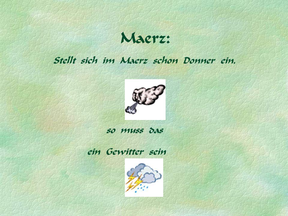 Maerz: Stellt sich im Maerz schon Donner ein, so muss das ein Gewitter sein