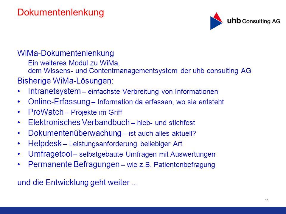 11 WiMa-Dokumentenlenkung Ein weiteres Modul zu WiMa, dem Wissens- und Contentmanagementsystem der uhb consulting AG Bisherige WiMa-Lösungen: Intranet
