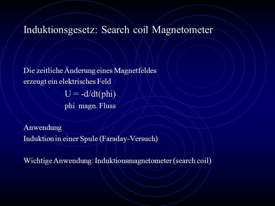 Induktionsgesetz: Search coil Magnetometer Die zeitliche Änderung eines Magnetfeldes erzeugt ein elektrisches Feld U = -d/dt(phi) phi magn. Fluss Anwe