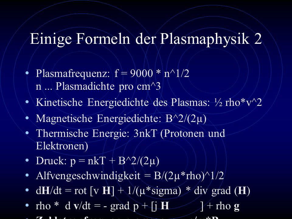 Einige Formeln der Plasmaphysik 2 Plasmafrequenz: f = 9000 * n^1/2 n... Plasmadichte pro cm^3 Kinetische Energiedichte des Plasmas: ½ rho*v^2 Magnetis
