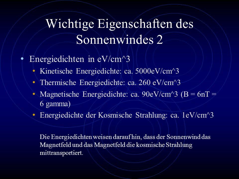 Wichtige Eigenschaften des Sonnenwindes 2 Energiedichten in eV/cm^3 Kinetische Energiedichte: ca. 5000eV/cm^3 Thermische Energiedichte: ca. 260 eV/cm^