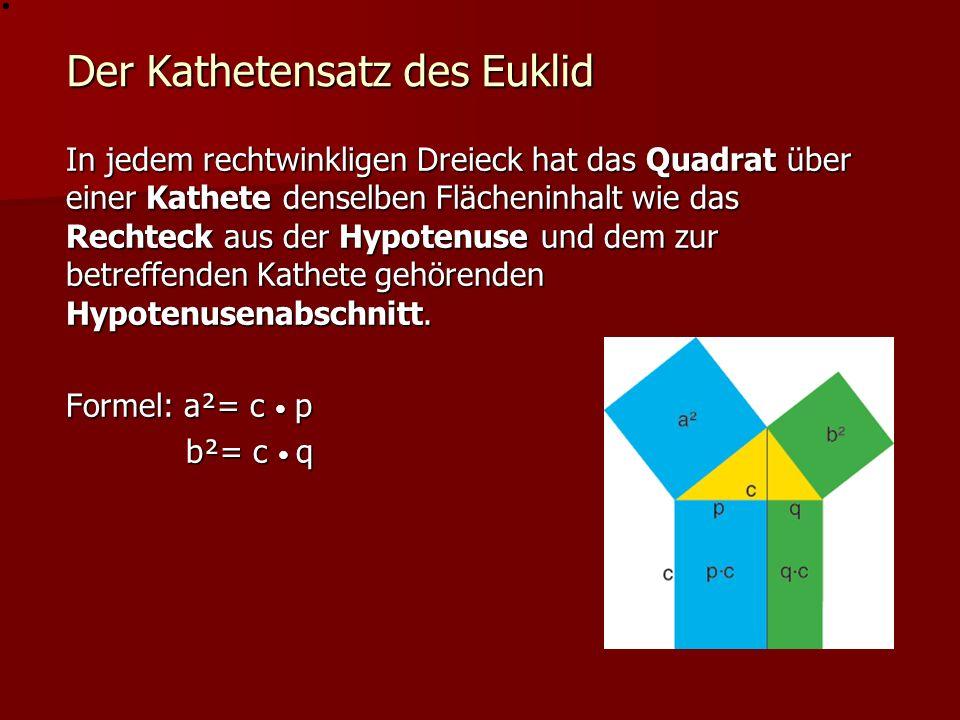 Der Höhensatz des Euklid In jedem rechtwinkligen Dreieck hat das Quadrat über der Höhe denselben Flächeninhalt wie das Rechteck, gebildet aus den beiden Hypotenusenabschnitten.