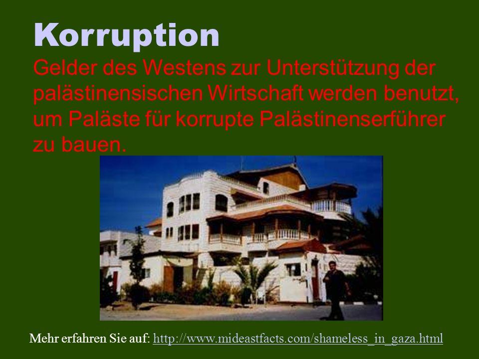 Korruption Gelder des Westens zur Unterstützung der palästinensischen Wirtschaft werden benutzt, um Paläste für korrupte Palästinenserführer zu bauen.