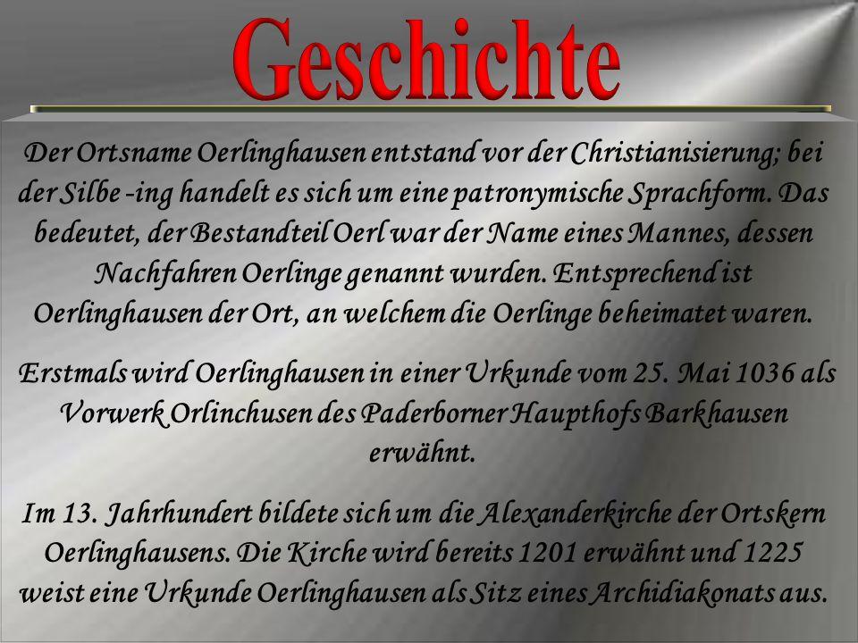 Der Ortsname Oerlinghausen entstand vor der Christianisierung; bei der Silbe -ing handelt es sich um eine patronymische Sprachform. Das bedeutet, der