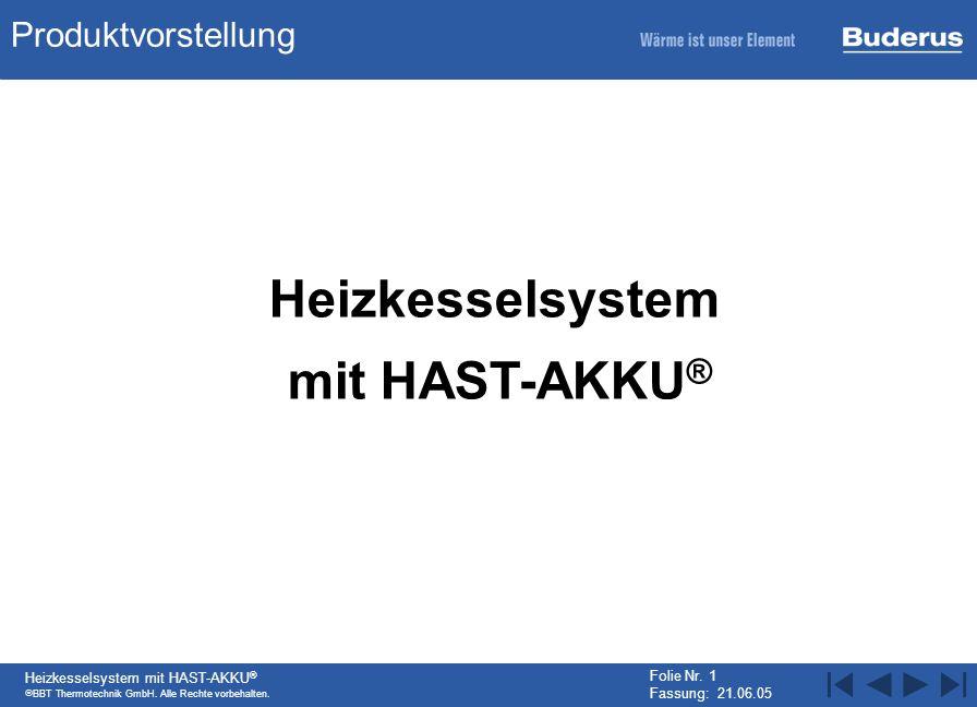 BBT Thermotechnik GmbH. Alle Rechte vorbehalten. Heizkesselsystem mit HAST-AKKU ® Folie Nr. 1 Fassung: 21.06.05 Vorstellung des Produkts Produktvorste
