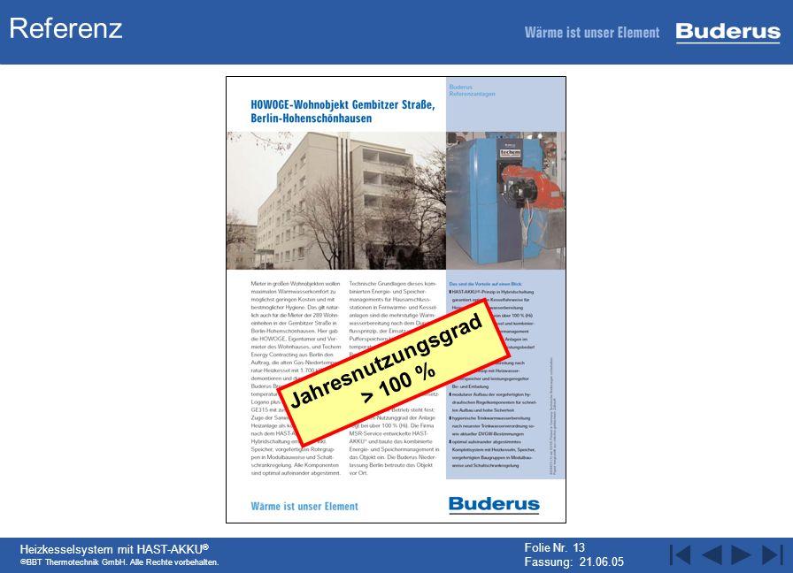 BBT Thermotechnik GmbH. Alle Rechte vorbehalten. Heizkesselsystem mit HAST-AKKU ® Folie Nr. 13 Fassung: 21.06.05 Referenz Jahresnutzungsgrad > 100 %