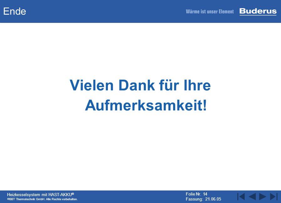 BBT Thermotechnik GmbH. Alle Rechte vorbehalten. Heizkesselsystem mit HAST-AKKU ® Folie Nr. 14 Fassung: 21.06.05 Ende Vielen Dank für Ihre Aufmerksamk
