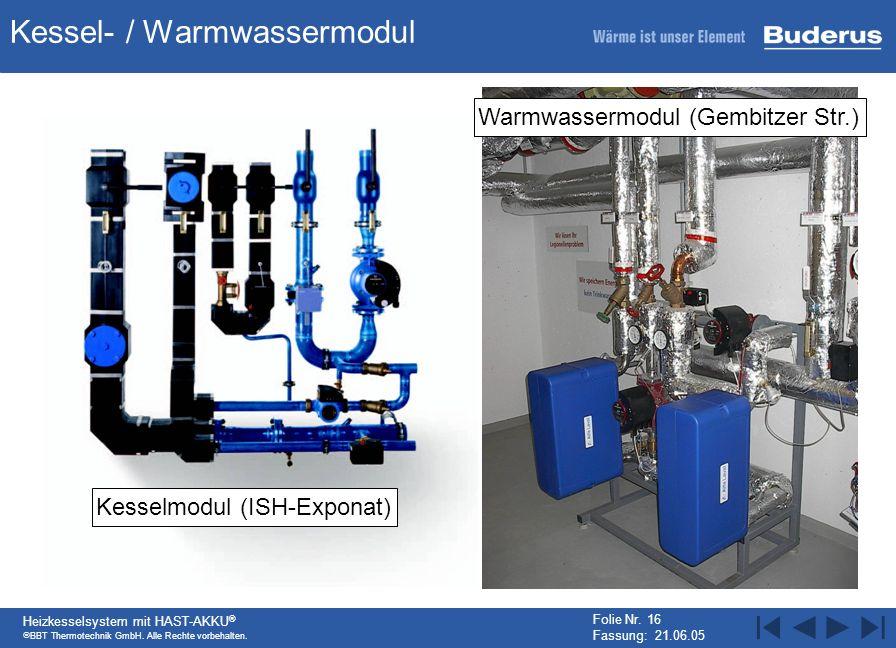 BBT Thermotechnik GmbH. Alle Rechte vorbehalten. Heizkesselsystem mit HAST-AKKU ® Folie Nr. 16 Fassung: 21.06.05 Kessel- / Warmwassermodul Kesselmodul