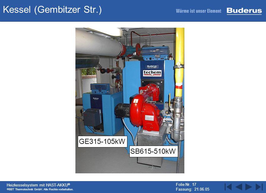 BBT Thermotechnik GmbH. Alle Rechte vorbehalten. Heizkesselsystem mit HAST-AKKU ® Folie Nr. 17 Fassung: 21.06.05 Kessel (Gembitzer Str.) GE315-105kW S