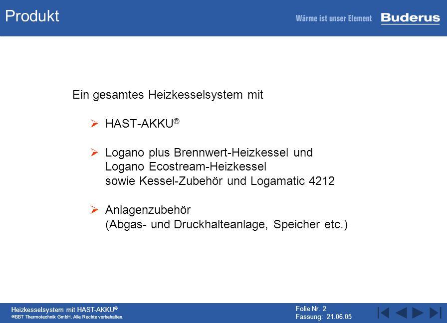 BBT Thermotechnik GmbH. Alle Rechte vorbehalten. Heizkesselsystem mit HAST-AKKU ® Folie Nr. 2 Fassung: 21.06.05 Produkt Ein gesamtes Heizkesselsystem