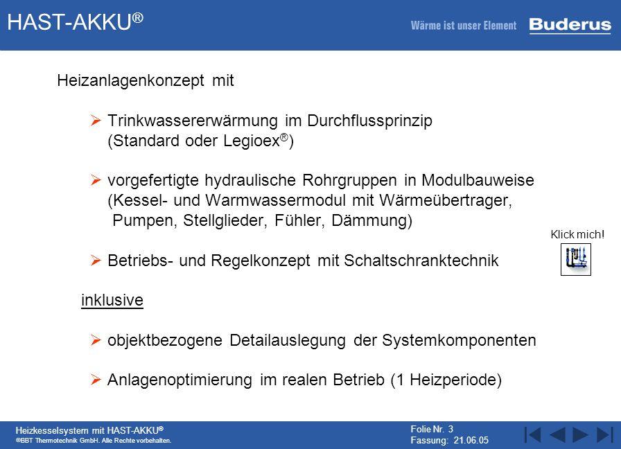 BBT Thermotechnik GmbH. Alle Rechte vorbehalten. Heizkesselsystem mit HAST-AKKU ® Folie Nr. 3 Fassung: 21.06.05 HAST-AKKU ® Heizanlagenkonzept mit Tri