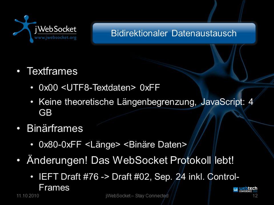 Bidirektionaler Datenaustausch Textframes 0x00 0xFF Keine theoretische Längenbegrenzung, JavaScript: 4 GB Binärframes 0x80-0xFF Änderungen! Das WebSoc