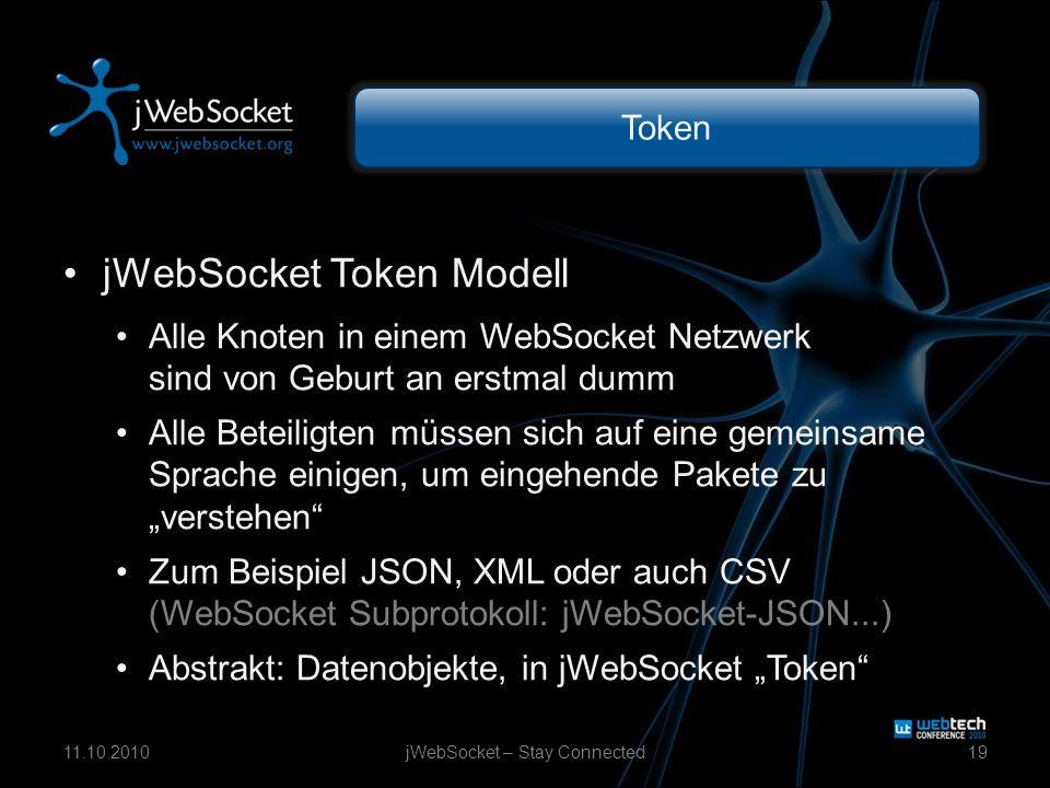 Token jWebSocket Token Modell Alle Knoten in einem WebSocket Netzwerk sind von Geburt an erstmal dumm Alle Beteiligten müssen sich auf eine gemeinsame Sprache einigen, um eingehende Pakete zu verstehen Zum Beispiel JSON, XML oder auch CSV (WebSocket Subprotokoll: jWebSocket-JSON...) Abstrakt: Datenobjekte, in jWebSocket Token jWebSocket – Stay Connected1911.10.2010